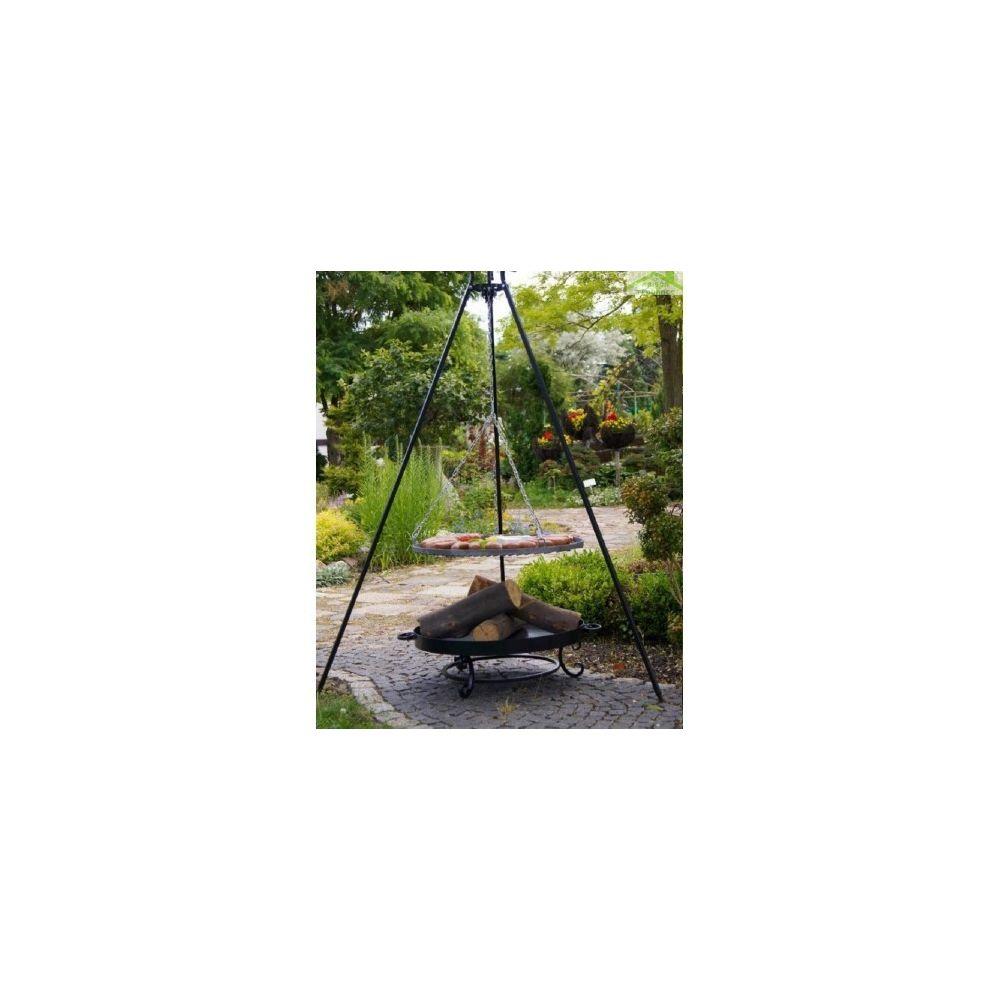 Farm-Mdlt Grille acier noir sur trépied + Brasero de jardin MALTA