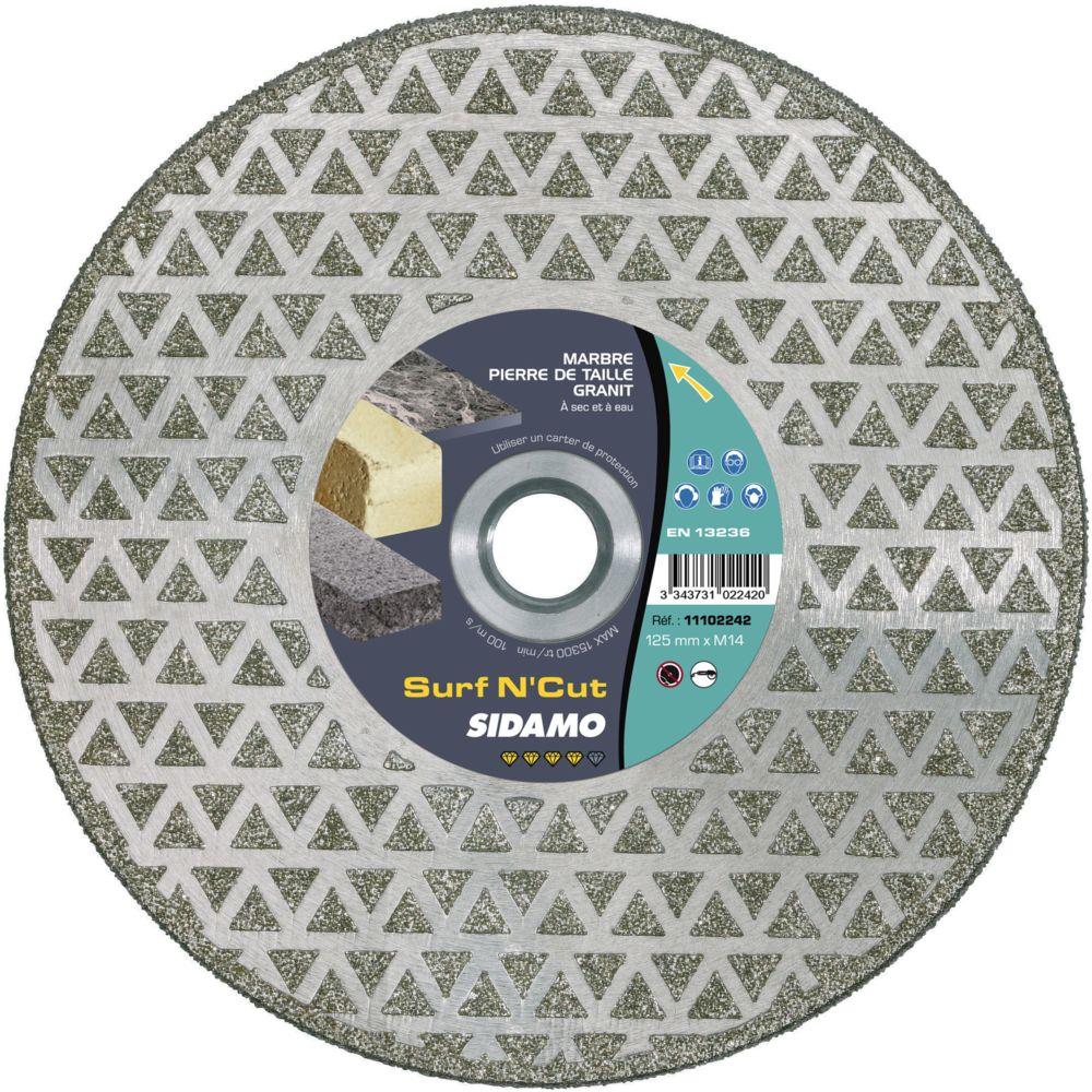 Sidamo Disque Diamant et Carbure à segment 125 mm SURF N CUT alésage M14 SIDAMO