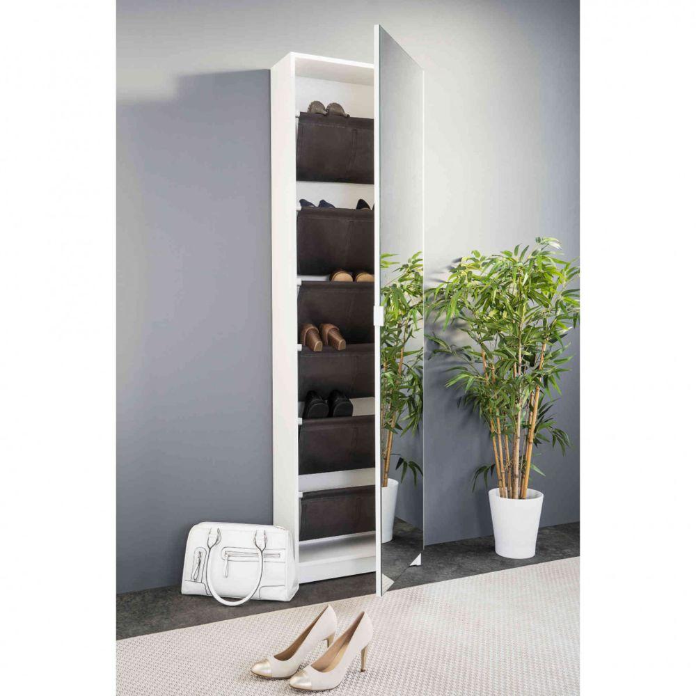 Terre De Nuit Meuble à chaussures miroir coloris blanc - MC7044