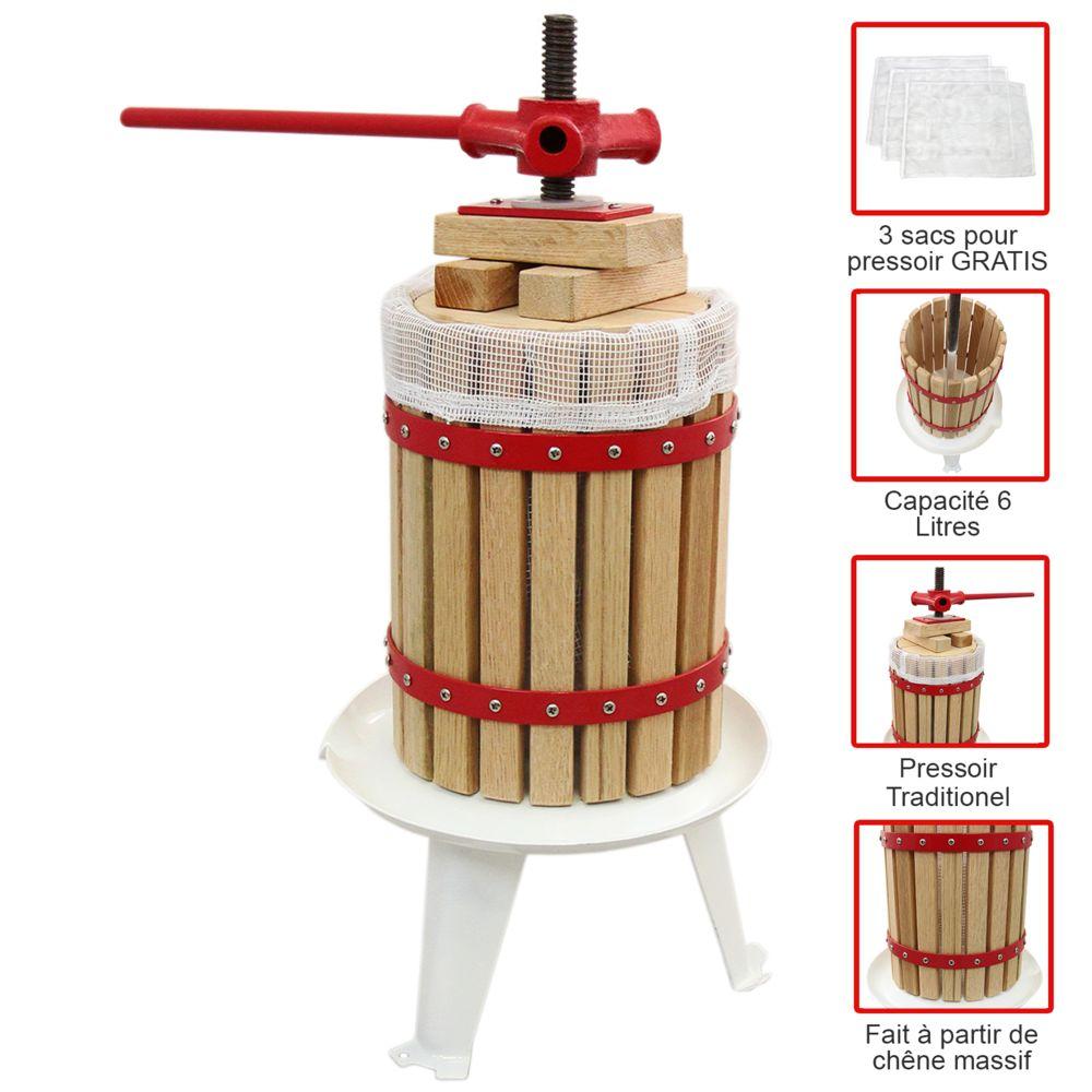 Kukoo Pressoir à Fruits Traditionnel 6 Litres Chêne Préparation Moût Fabrication Jus de Fruit, Vins & Cidres