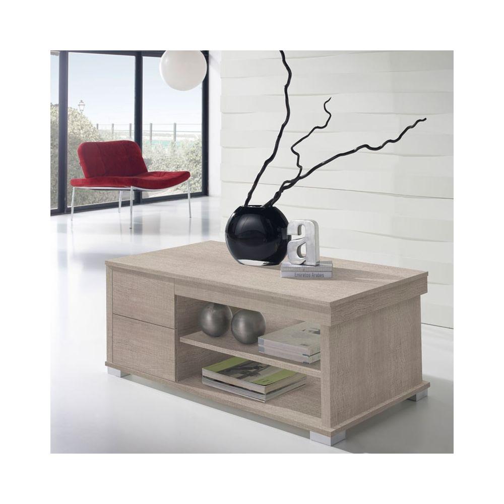 Tousmesmeubles Table basse chêne clair relevable 4 tiroirs - NESE