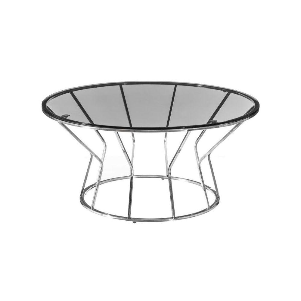 Tousmesmeubles Table basse ronde Métal/Verre - KUNJA