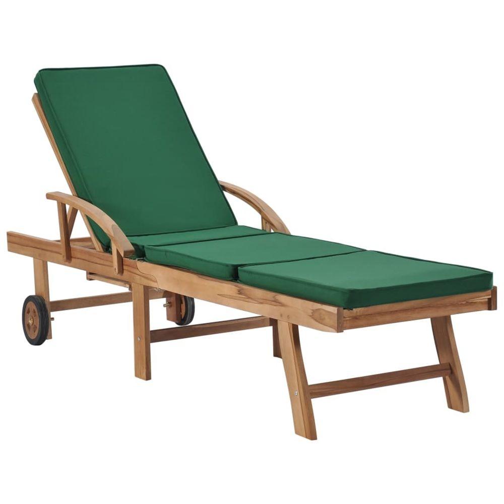 Vidaxl vidaXL Chaise longue avec coussin Bois de teck solide Vert