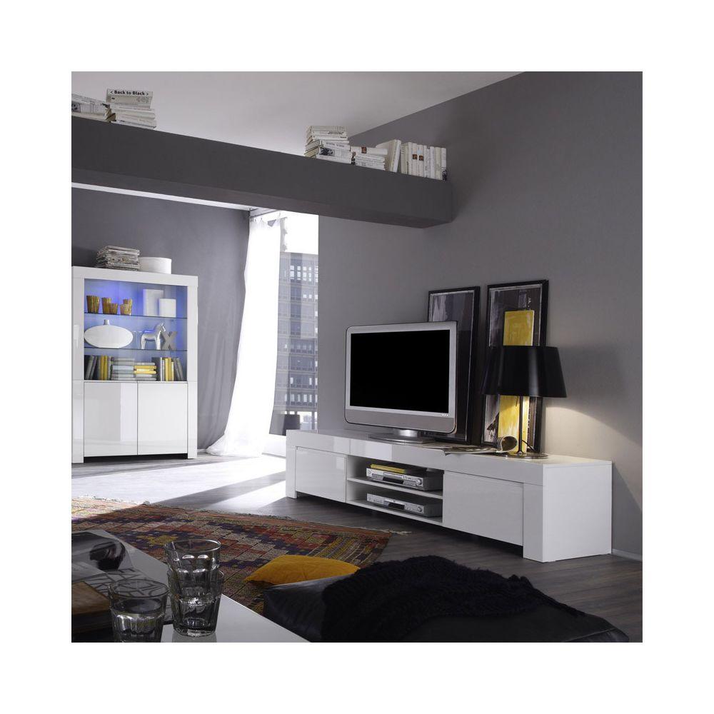 Tousmesmeubles Meuble TV 2 portes 190 cm laqué Blanc brillant - PISA