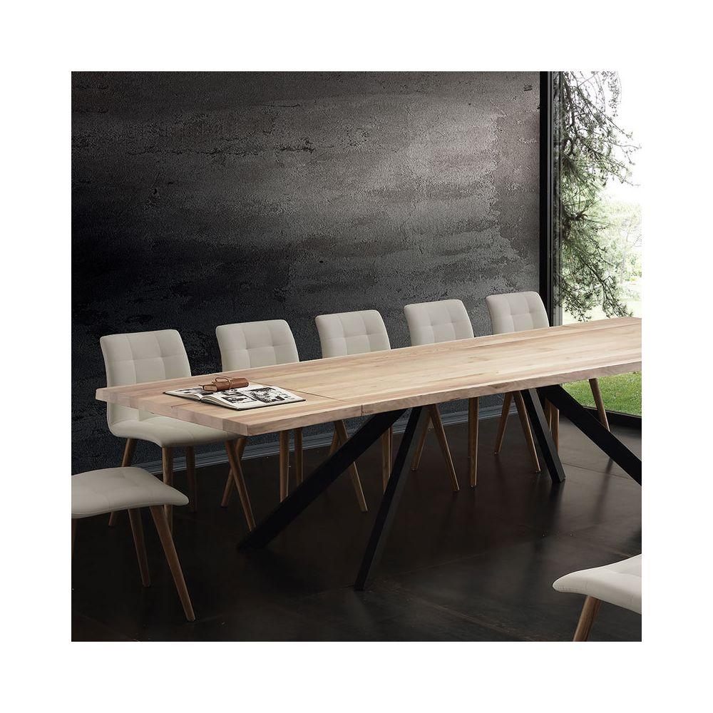 Nouvomeuble Table à manger extensible bois massif ILONA