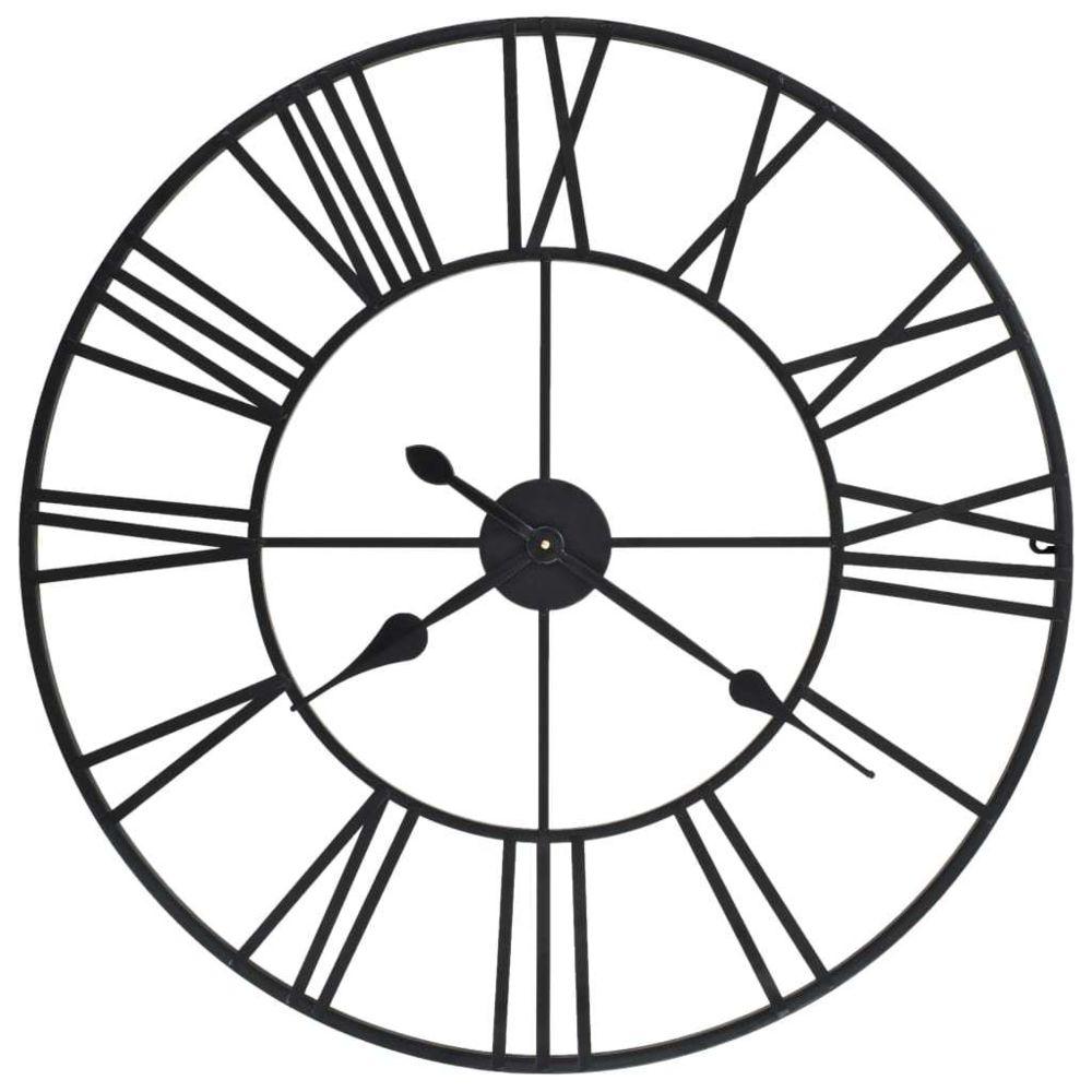 Vidaxl Horloge murale vintage avec mouvement à quartz Métal 80 cm XXL - Décorations - Horloges - Horloges murales | Noir | Noir