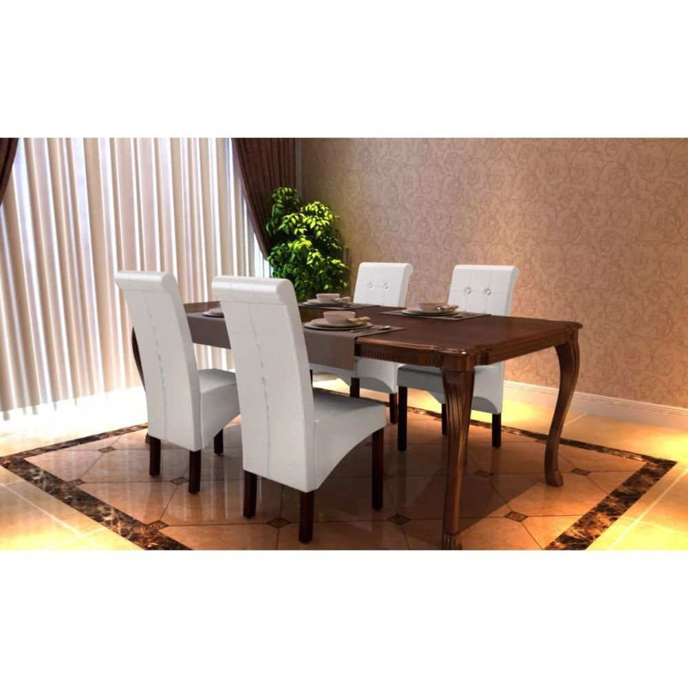 Vidaxl Chaise antique simili cuir blanc (lot de 4) | Blanc