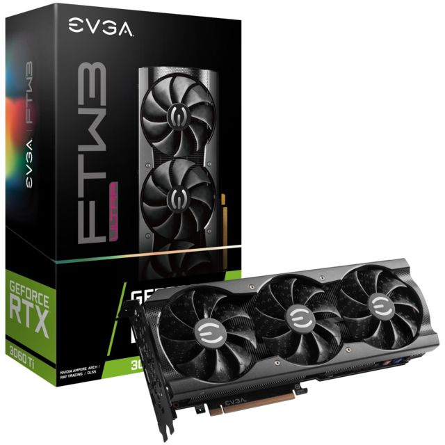 Evga - GeForce RTX 3060 Ti FTW3 ULTRA GAMING - Triple Fan - 8Go - Carte Graphique NVIDIA 8 go