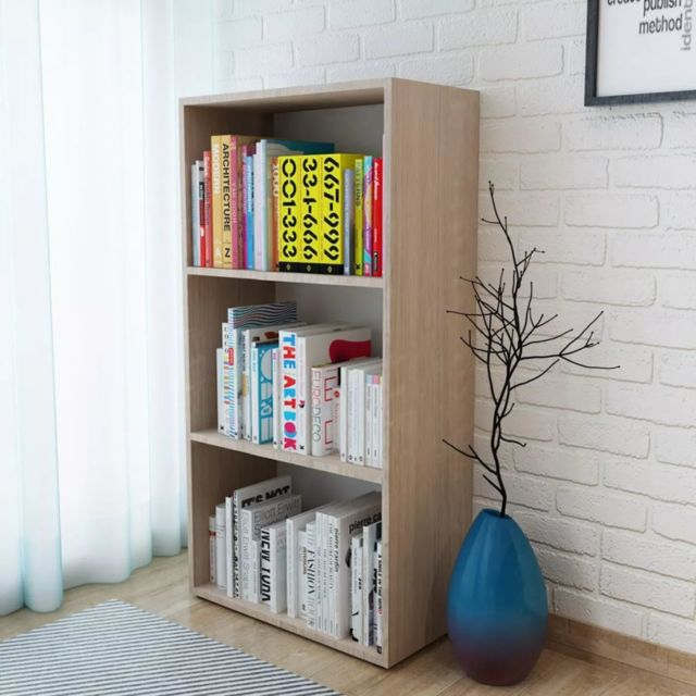 vidaxl bibliotheque agglomere chene meuble de rangement etagere a livre