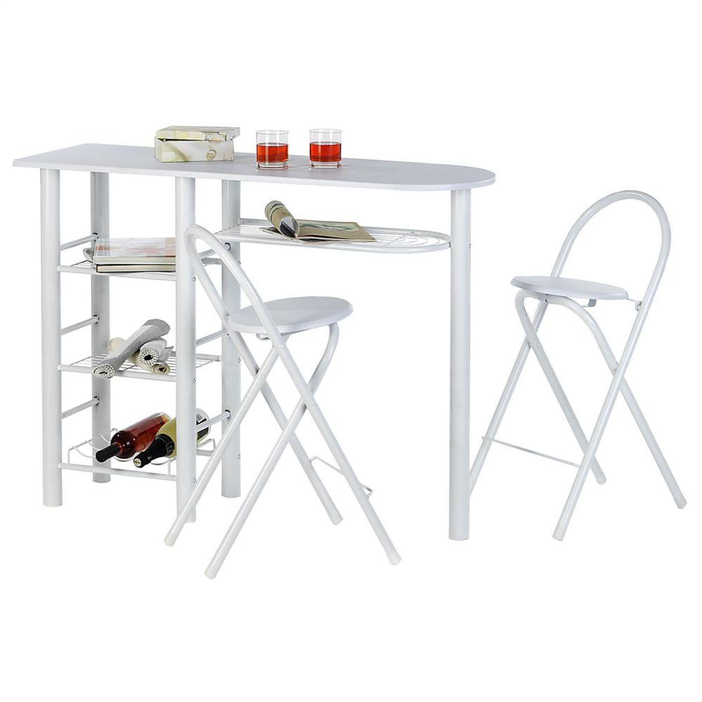 Idimex Ensemble STYLE avec table haute de bar mange-debout comptoir et 2 chaises/tabourets, en MDF blanc mat et structure en mé