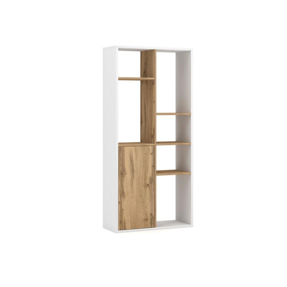 Vivaldi VIVALDI Bibliothèque - SPACE - 75 cm - blanc mat / chêne artisan sans LED - style moderne