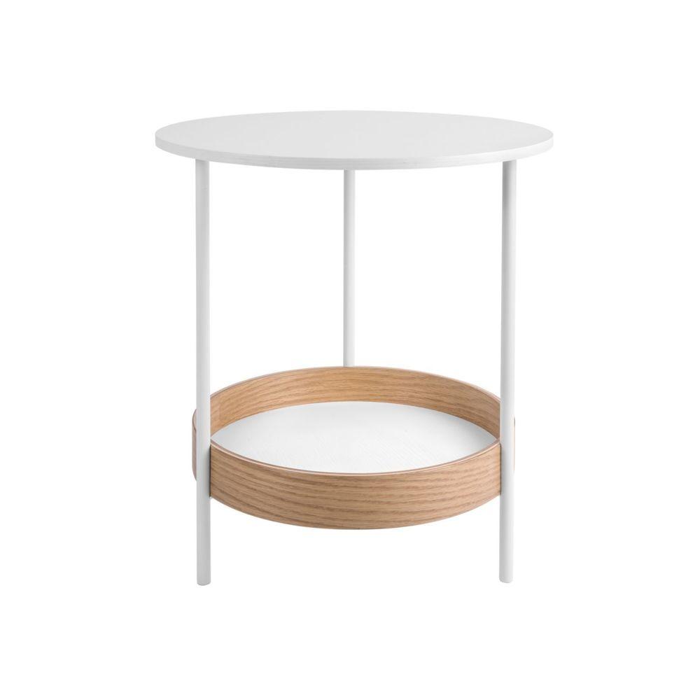 Leitmotiv Table d'appoint ronde design Dual - Diam. 48 x H. 51 cm - Blanc