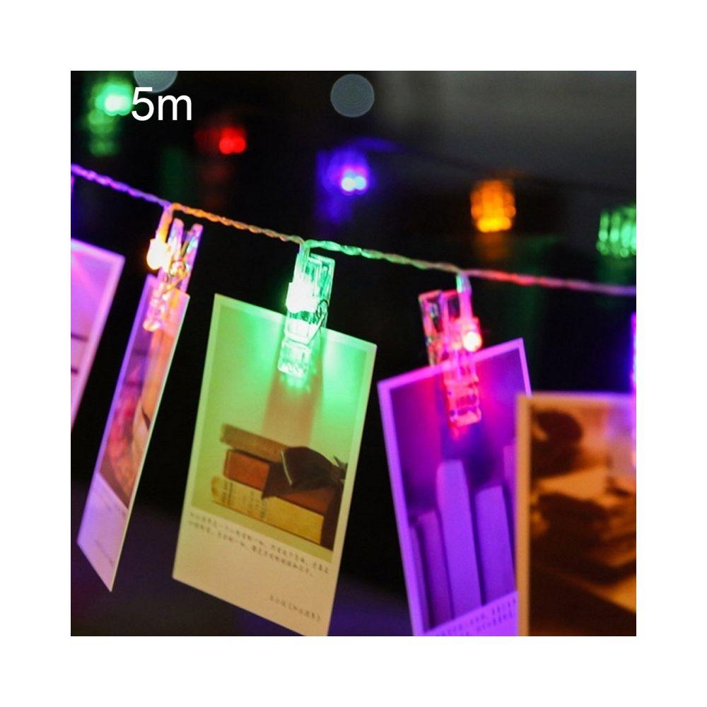 Wewoo 5m lumière colorée Clip photo LED chaîne féerique, 50 LED 3 piles AA piles Chaîne Chaîne Lampe Lumière Décorative pour l