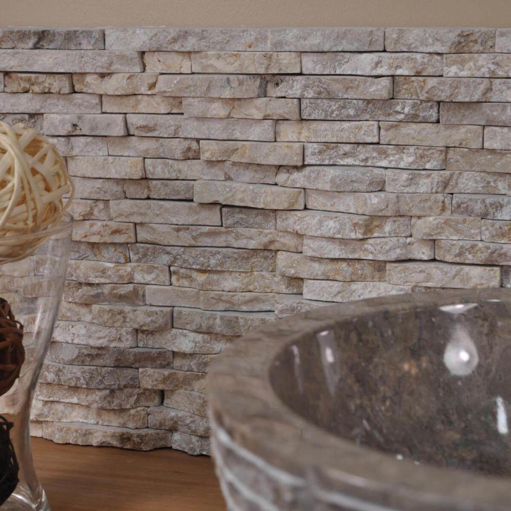 Wanda Collection Parement en pierre naturel marbre brut crème