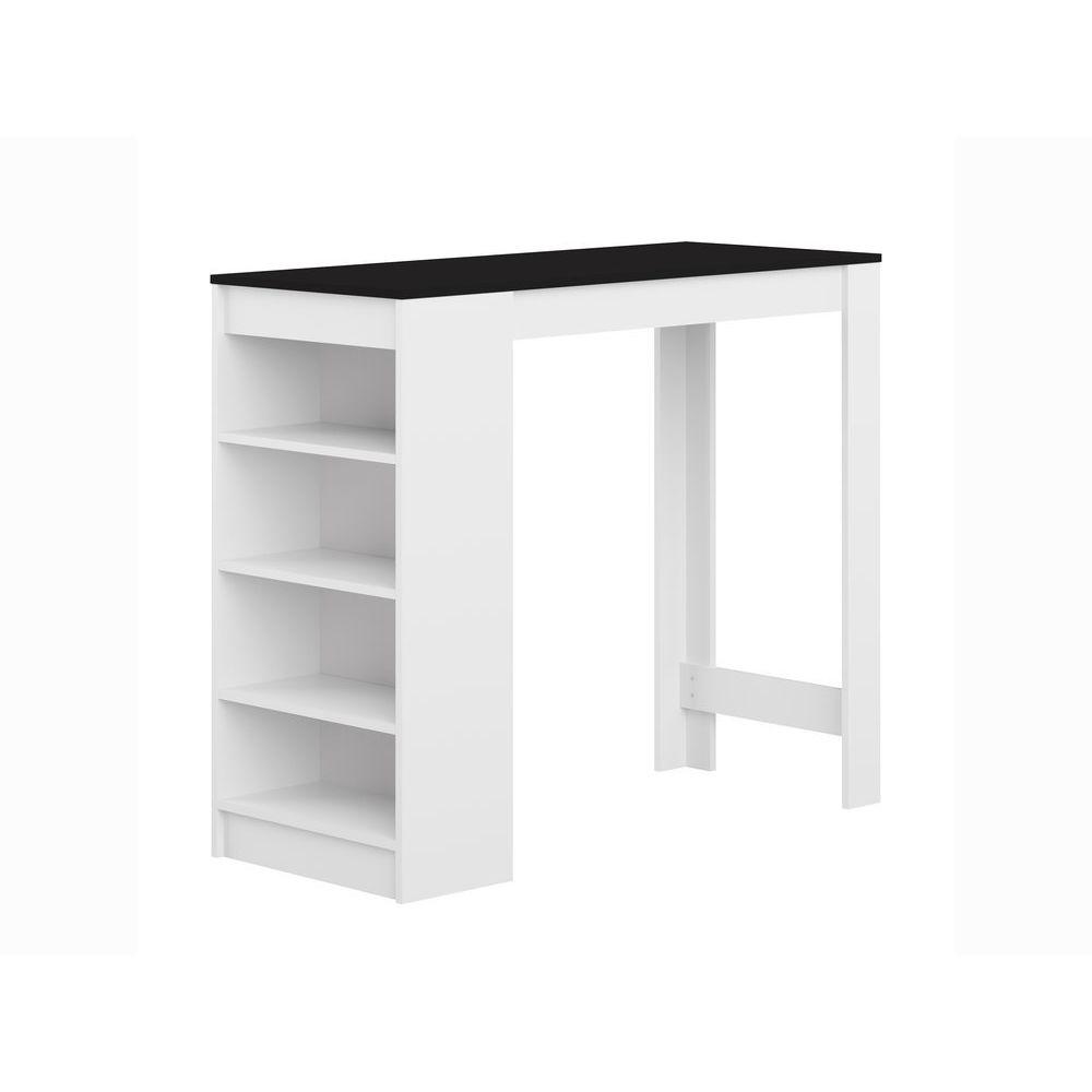 Symbiosis Table de bar avec 4 étagères L115xl50xH102cm ARAVIS - Blanc / Noir