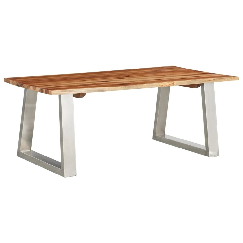 Vidaxl vidaXL Table basse 100x60x40 cm Bois d'acacia et acier inoxydable