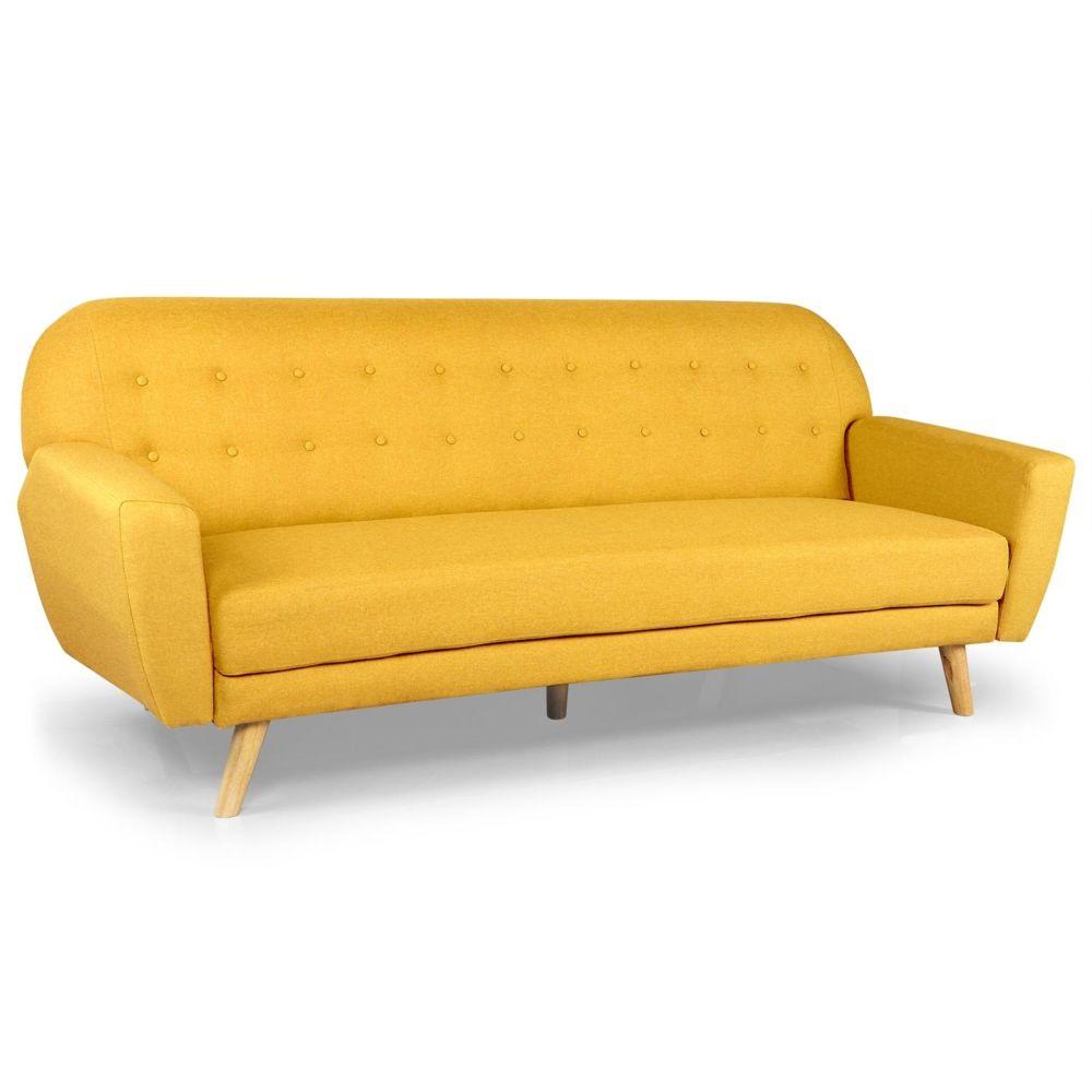 menzzo  canapé convertible scandinave helios tissu jaune