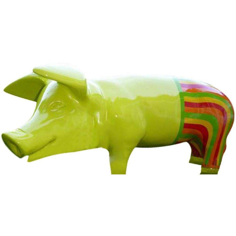 Texartes Cochon avec pantalon coloré en résine