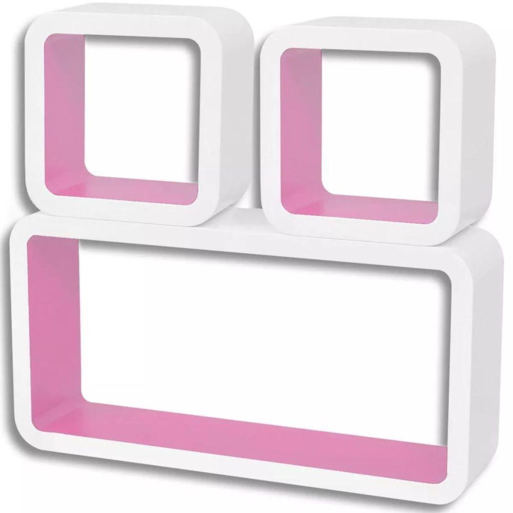 Helloshop26 Étagère armoire meuble design 3 cubes murales et en mdf blanc-rose pour dvd/livres 2702094/2