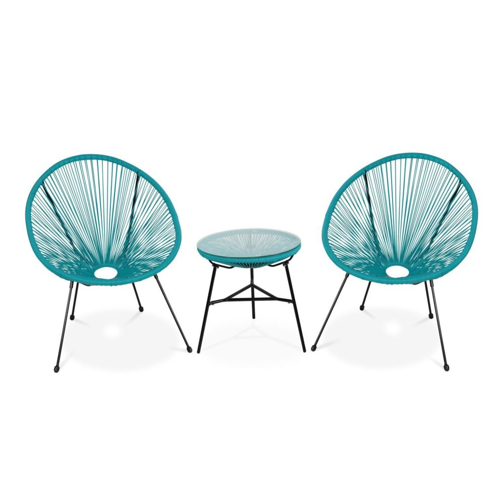 Alice'S Garden Lot de 2 fauteuils ACAPULCO forme d'oeuf avec table d'appoint - turquoise - Fauteuils design rétro