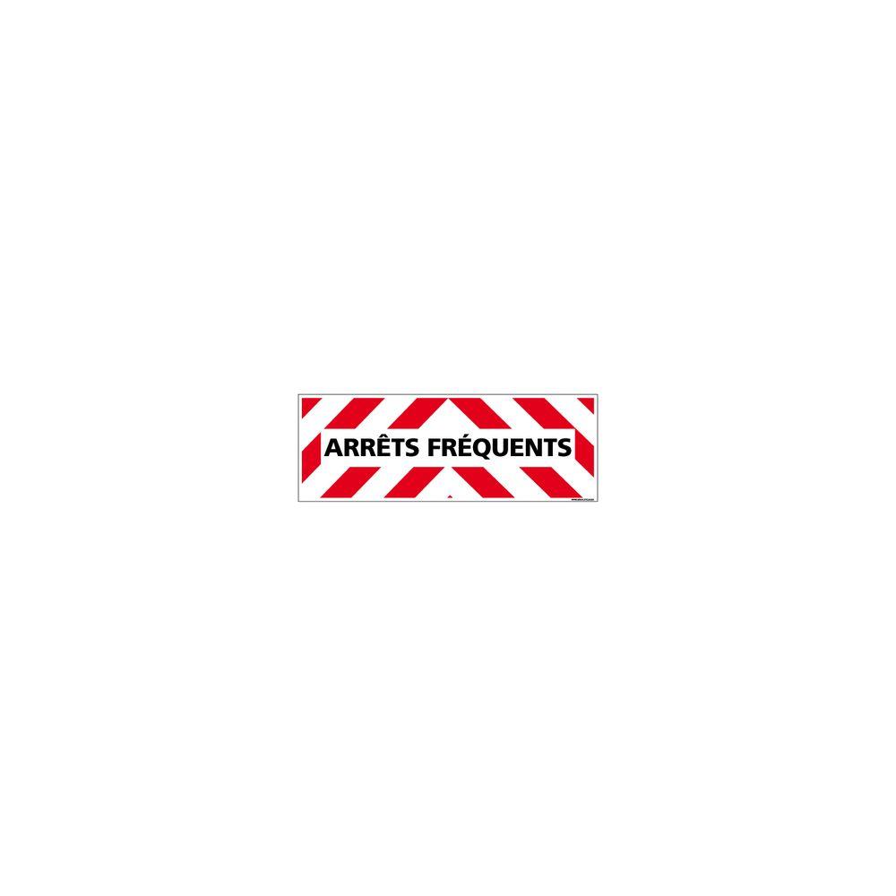 Signaletique Biz Adhésif Magnétique - Arrêts Fréquents - Dimensions 1000x300 mm - Rouge et Blanc - Protection Anti-UV