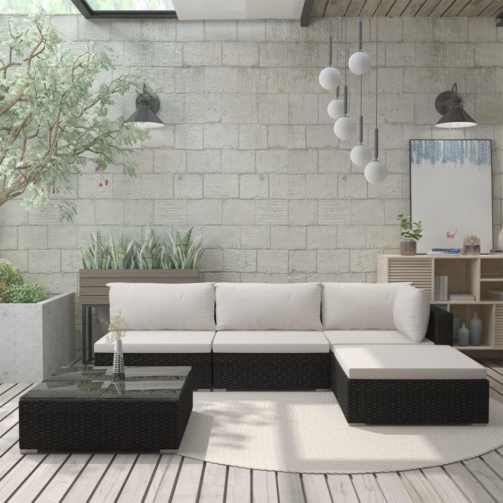 Vidaxl vidaXL Salon de jardin 5 pcs avec coussins Résine tressée Noir