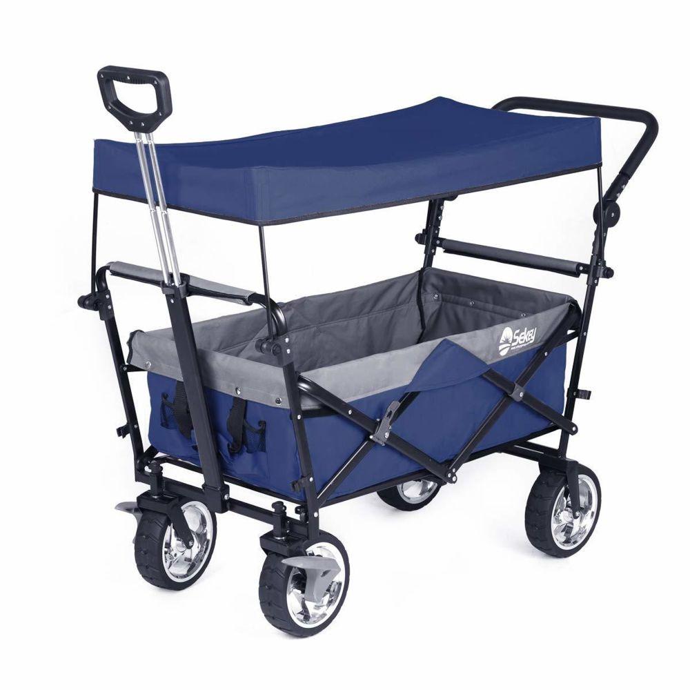 Sekey Chariot Pliant avec toit Chariot de transport avec freins Chariot de Plage Chariot de Jardin Pliable pour Tous Les terra