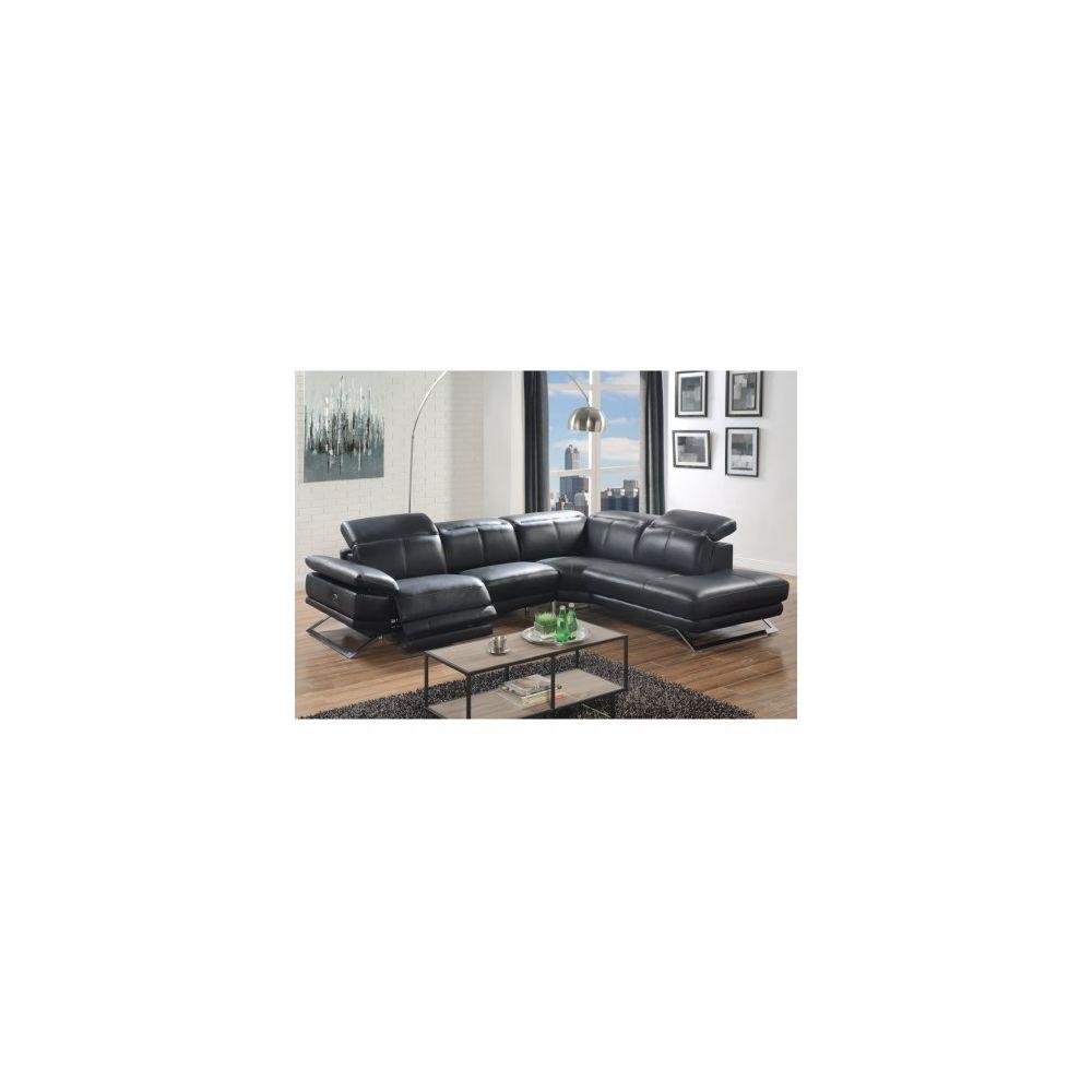 Linea Sofa Canapé d'angle relax électrique en cuir PUNO - Noir - Angle droit
