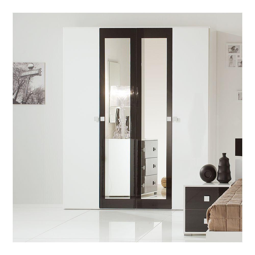 Nouvomeuble Armoire 170 cm noir et blanc design DAFINA