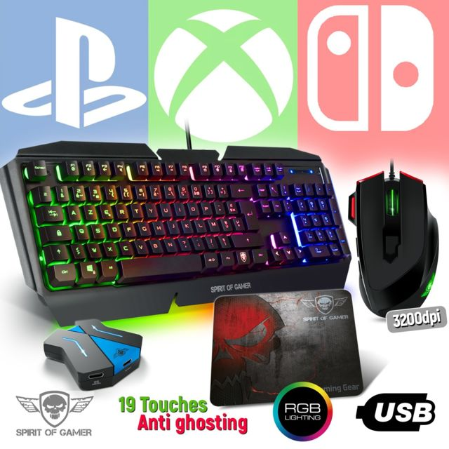 Spirit Of Gamer - Pack Clavier Pro-K5, souris RGB et tapis pour console PS4, XBOX ONE, SWITCH - Convertisseur inclus Spirit Of Gamer   - Clavier Souris Spirit Of Gamer