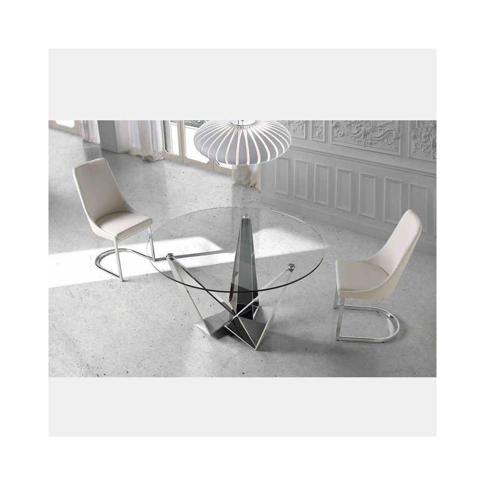 Nouvomeuble - Chaise design blanche et chromé SEOS