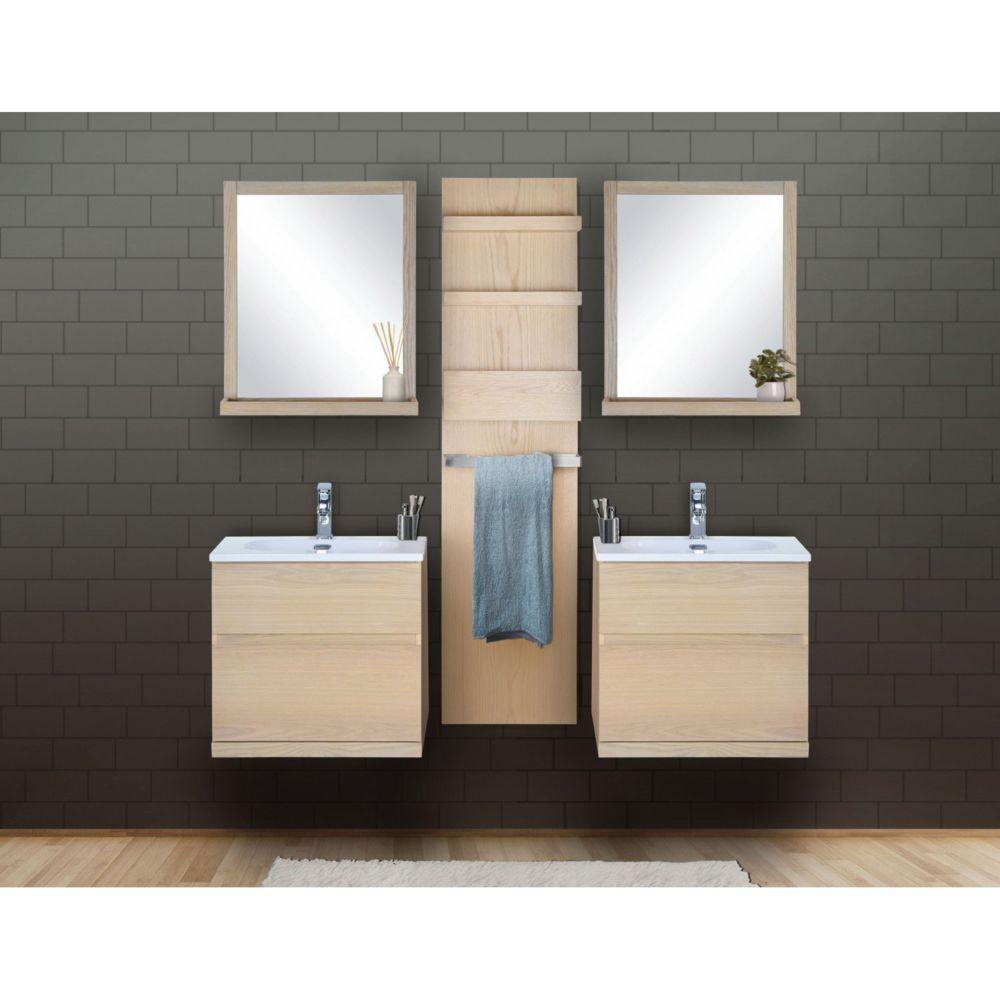 Mob-In Ensemble salle de bain chêne 2 meubles 60 cm + 2 miroirs + 1 module rangement ENIO