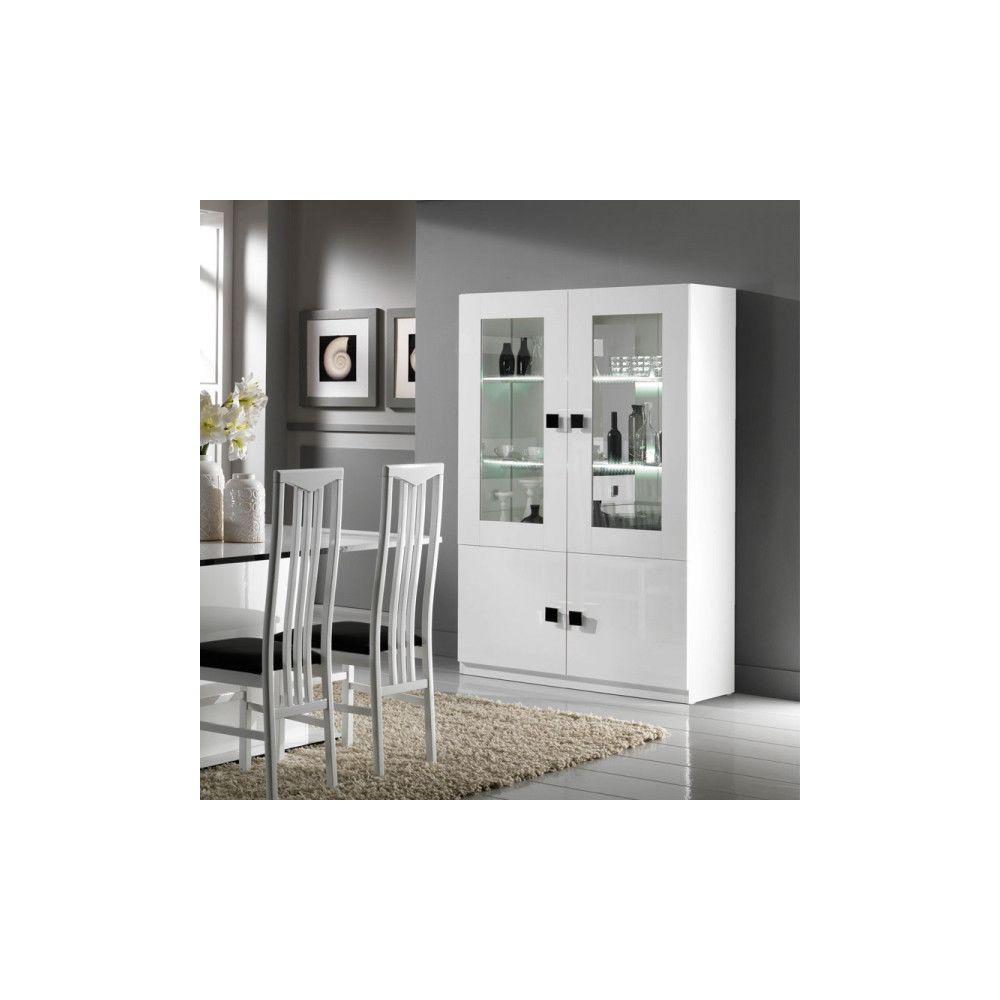 Dansmamaison Vaisselier 4 portes Blanc/Blanc laqué à LEDS - ZEME - L 118 x l 46 x H 181 cm