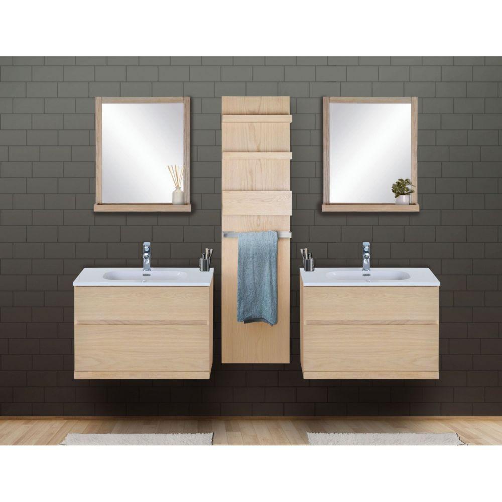 Mob-In Ensemble salle de bain chêne 2 meubles 80 cm + 2 miroirs + 1 module rangement ENIO