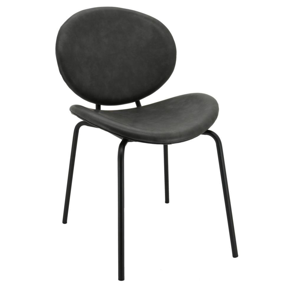 Aubry Gaspard Chaise design en simili cuir et métal