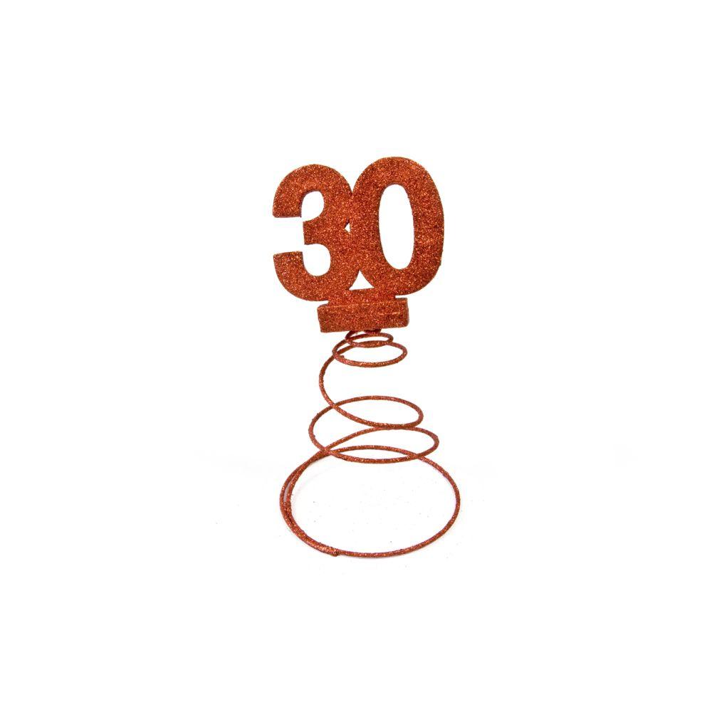 Visiodirect Lot de 10 Centres de table pour anniversaire 30 ans - Rouge pailletée