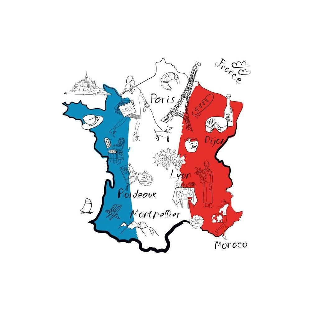 Homemania HOMEMANIA Tableau World - Carte France - avec Dessins - pour Séjour, Chambre, Bureau - Multicolore en Coton, Bois, 60 x