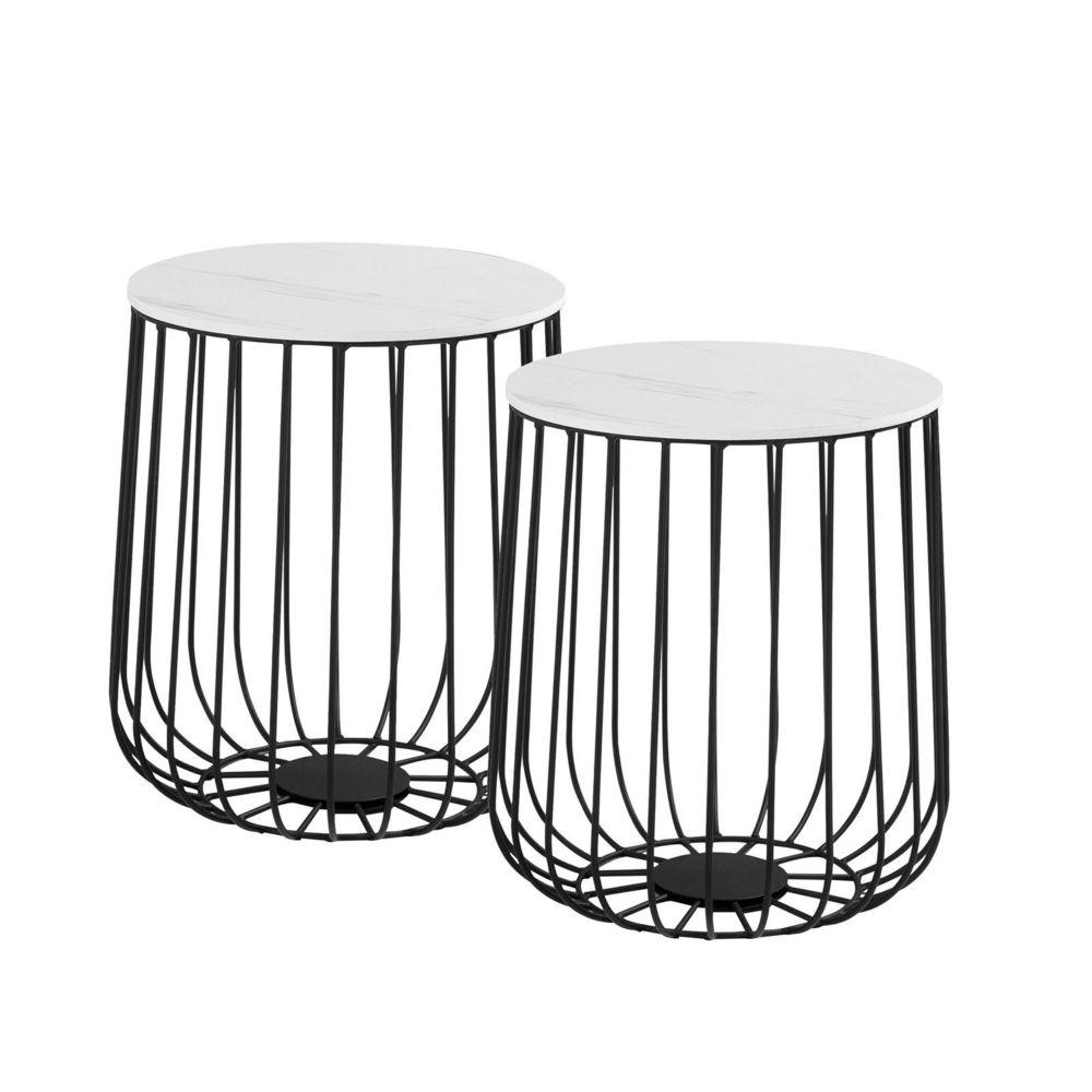 Idimex Lot de 2 tables d'appoint ERRANO paniers en métal tables à café tables basses rondes bouts de canapé vintage décor marbr