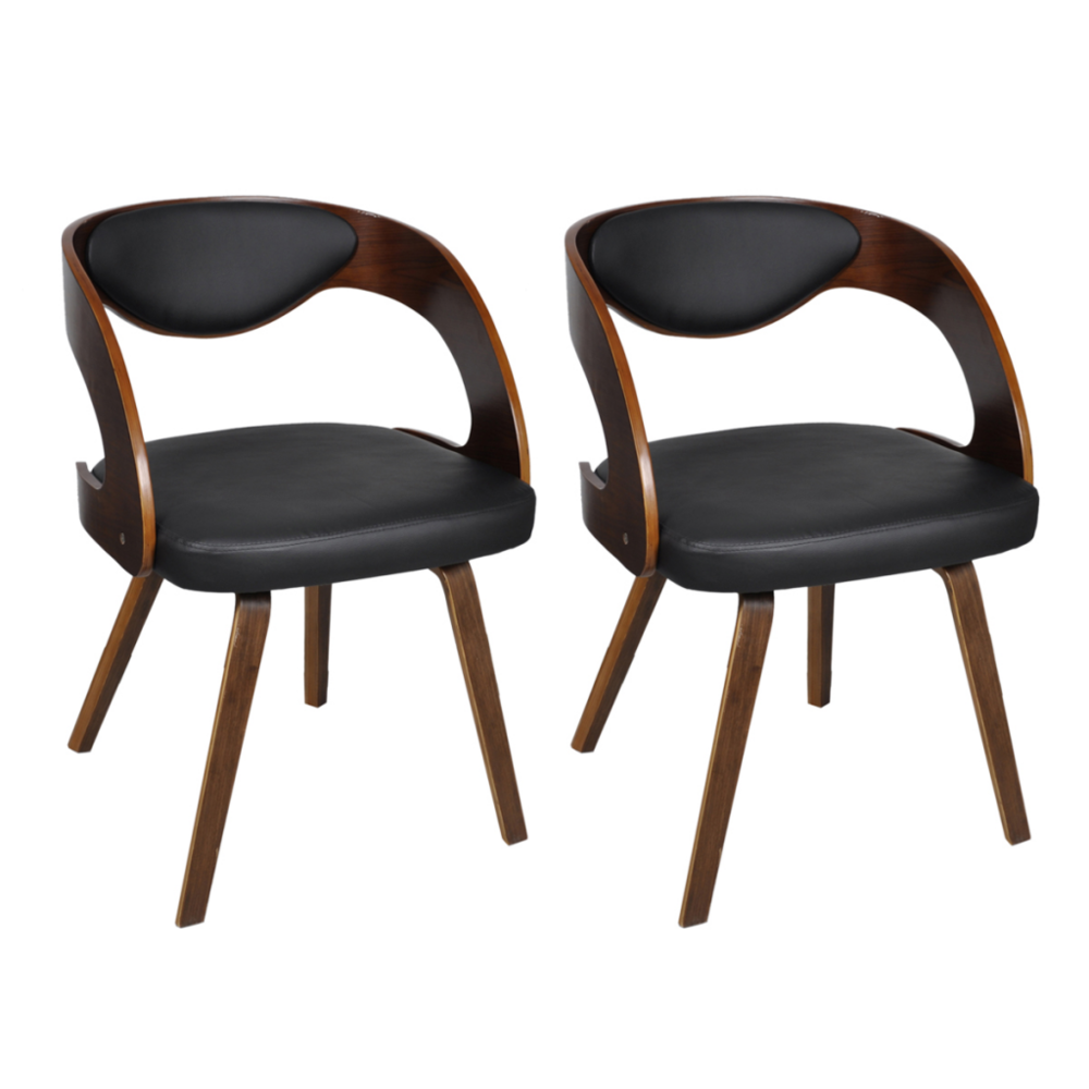 Helloshop26 2 Chaises de cuisine salon salle à manger design noir bois 1902044
