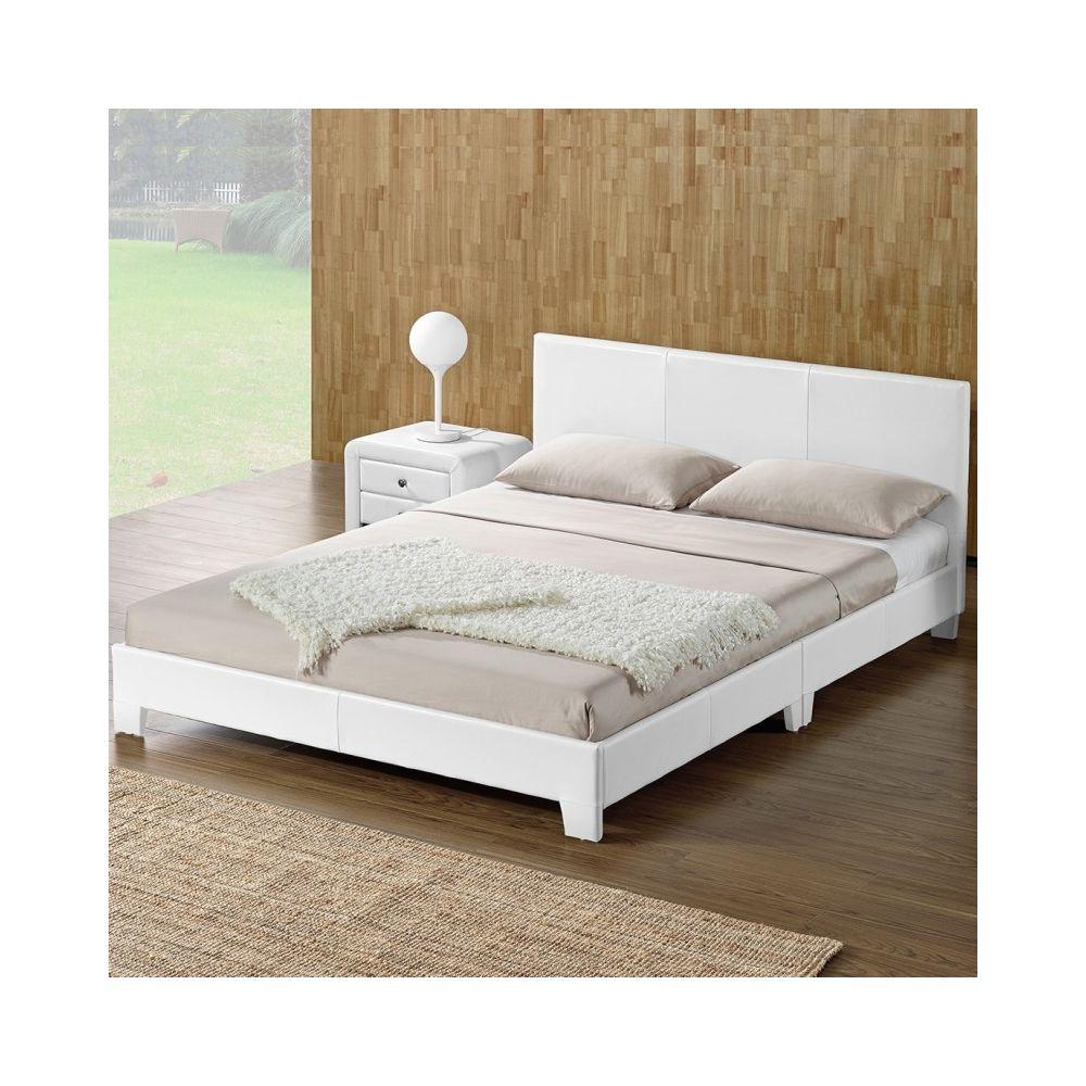 Meubler Design Lit complet + tête de lit + cadre de lit SIMPLI - Blanc - 160x200