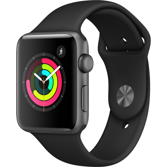 Apple -Watch 3 42 - Alu noir / Bracelet Sport noir Apple  - Objets connectés
