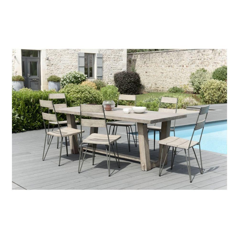 MACABANE Salon de jardin en teck teinté, comprenant 1 table à manger rectangulaire et 3 lots de 2 chaises sandi bois et métal - M