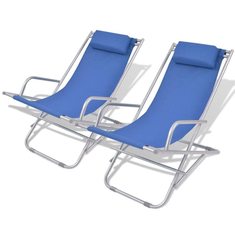 Vidaxl vidaXL Chaises inclinables de terrasse 2 pcs Acier Bleu