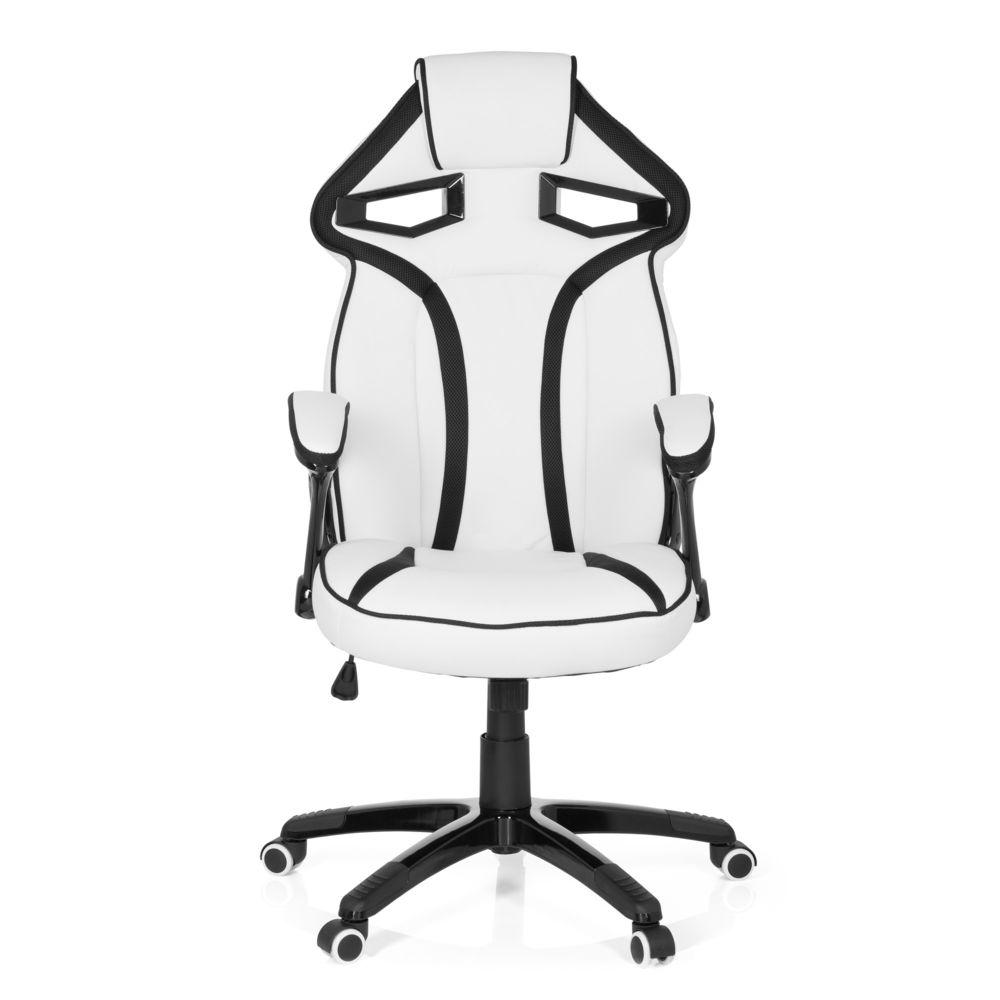 Hjh Office Chaise gaming / Chaise de bureau GUARDIAN simili cuir blanc / noir hjh OFFICE