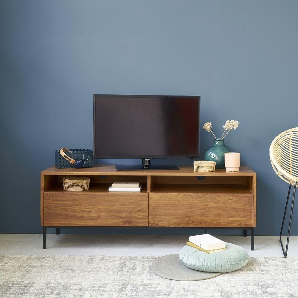 Bois Dessus Bois Dessous Meuble TV en bois de teck et métal 2 tiroirs 140