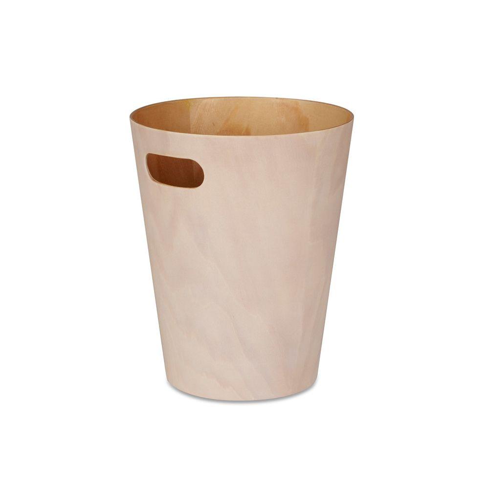 Umbra Poubelle de salle de bain 9L en bois avec poignée D.22.9cm WOODROW - Naturel