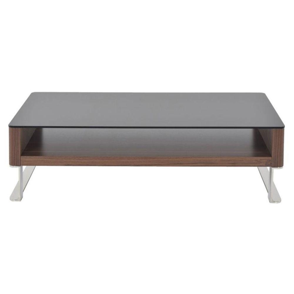 La Maison Du Canapé Table basse bois et verre KARY - Noyer/Transparent - Bois foncé
