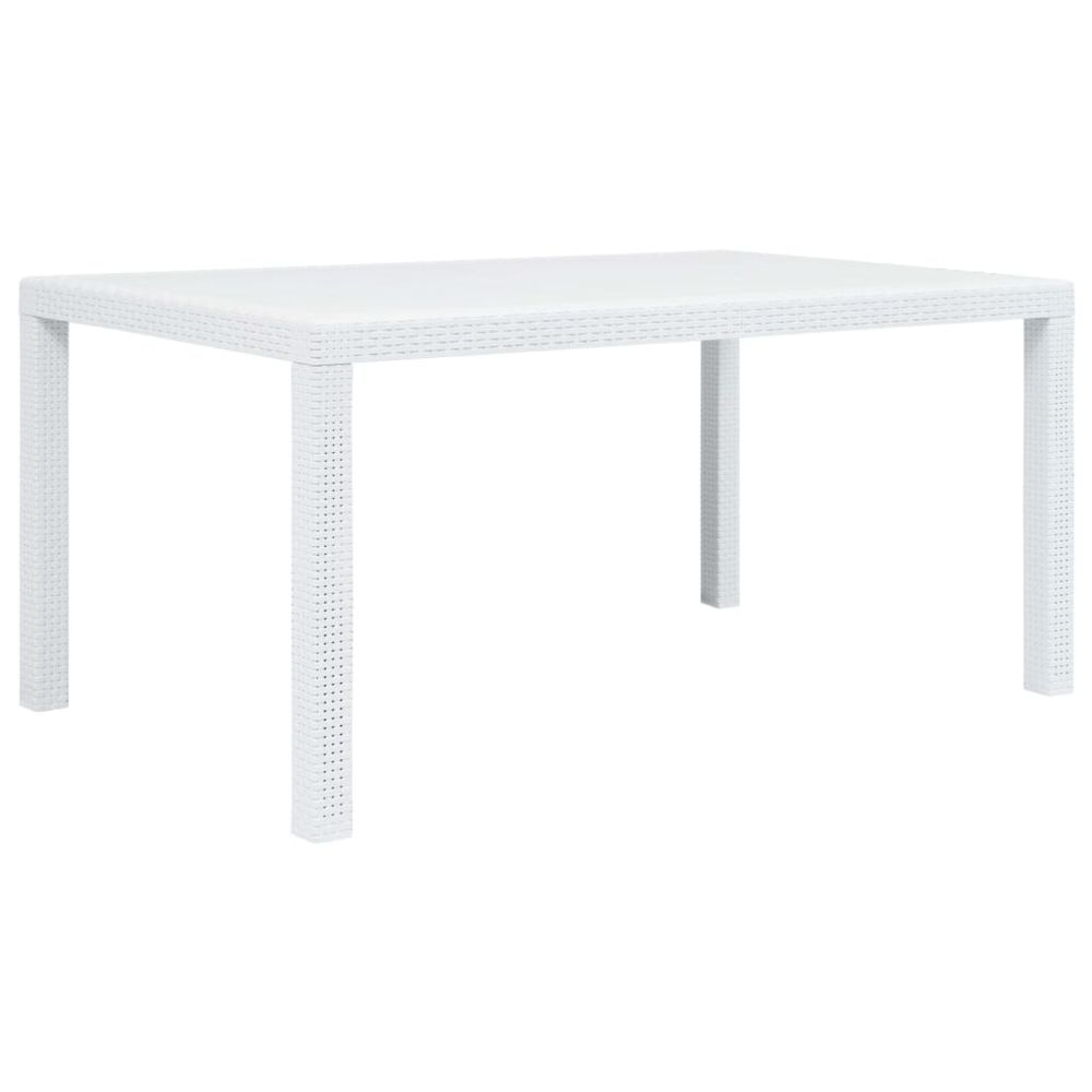 Uco UCO Table de jardin Blanc 150x90x72 cm Plastique Aspect de rotin