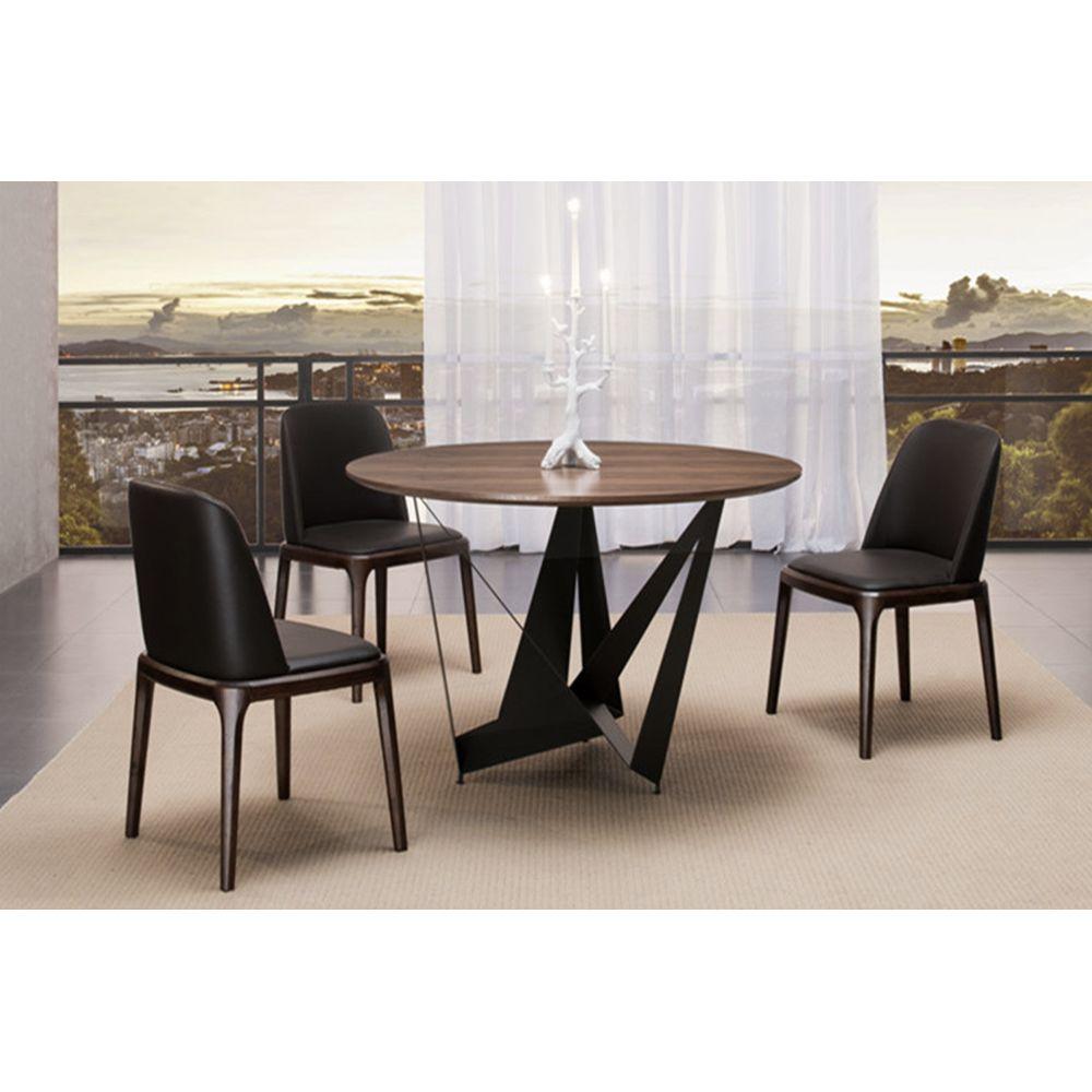 Oneboutic Table à manger ronde design marron en bois - Antas
