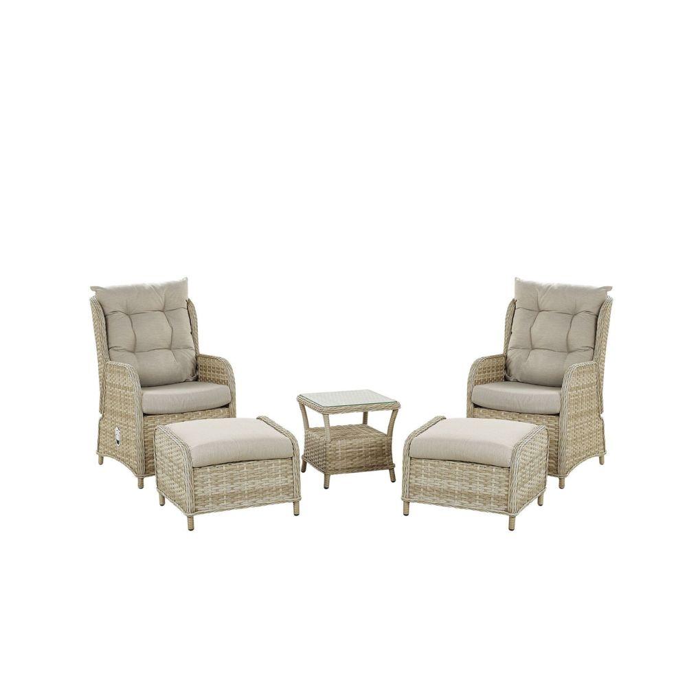 Beliani Beliani Set de terrasse table et 2 fauteuils en rotin beige PONZA -